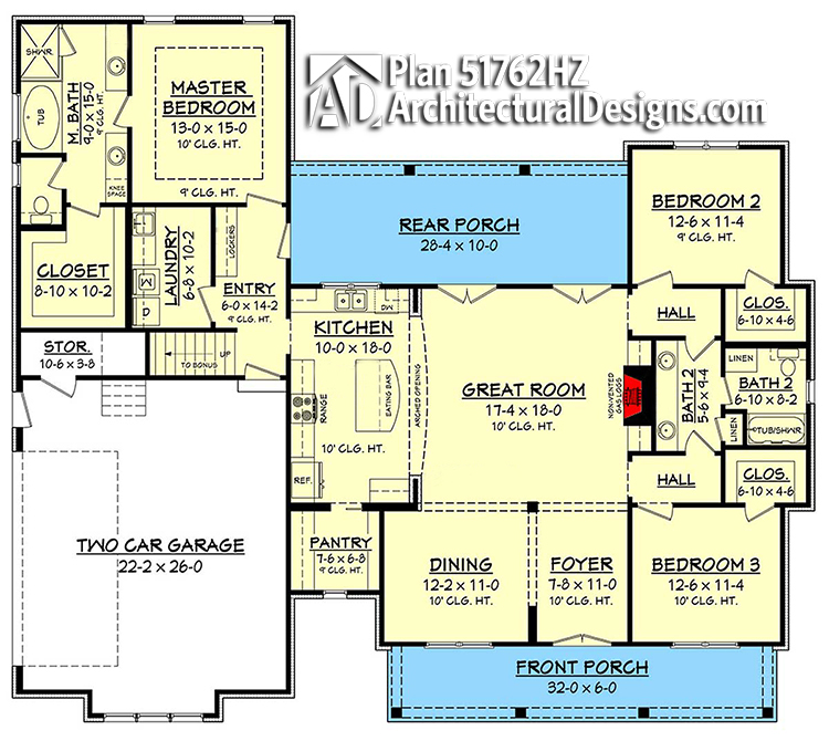 One story modern farmhouse floor plans | Chatham County NC custom home builders