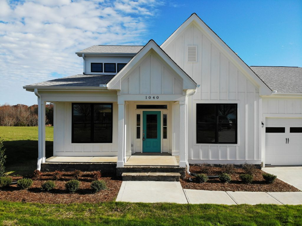 Modern Farmhouse www.ArchitecturalDesigns.com plan 85252MS has been modified and constructed by Travars Built Homes in Pittsboro, Chatham County, NC