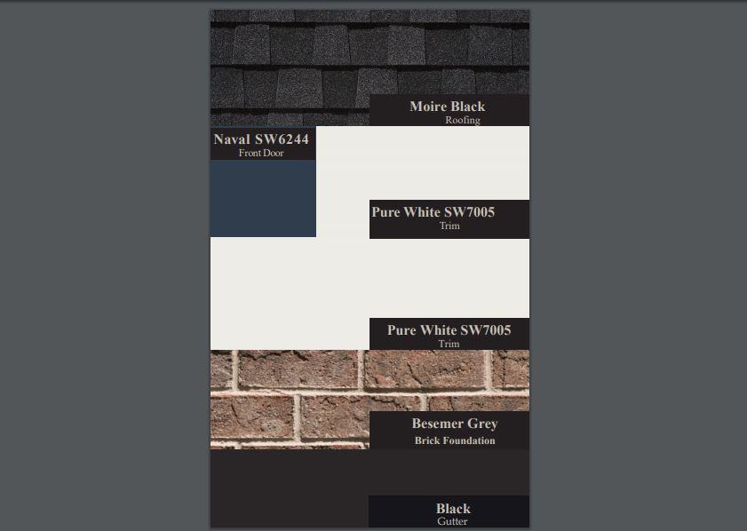 Naval SW6244, Moire Black Roofing, Pure White SW7005, Besemer Grey Brick, Black Gutter