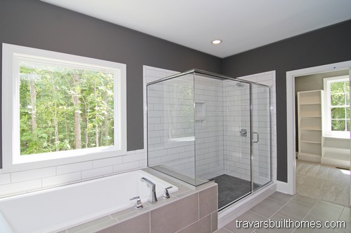 Chapel Hill Modern Farmhouse | White Gray Bathroom