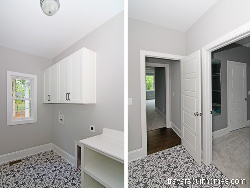 Chapel Hill Modern Farmhouse | Black and White Laundry Room
