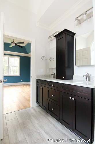 Wendell North Carolina New Homes | Dark Cabinetry Master Bath