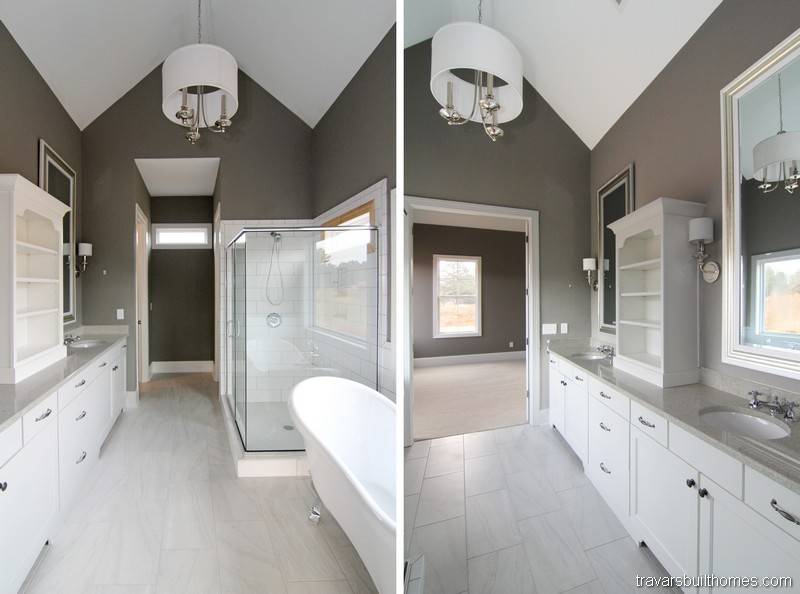 Chatham County NC Custom Homes | Farmhouse White Bathroom