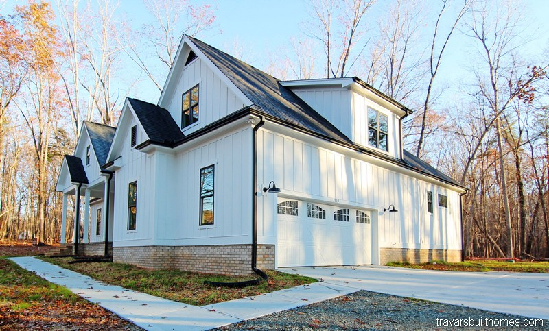 White and Black Modern Farmhouse Exterior | Mebane NC New Homes
