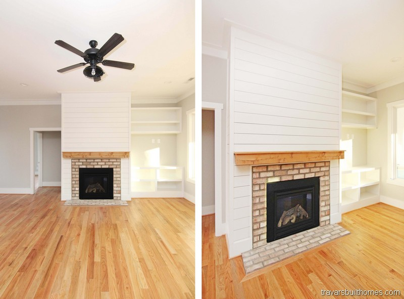 Brick Fireplace Built Ins | Mebane NC New Homes