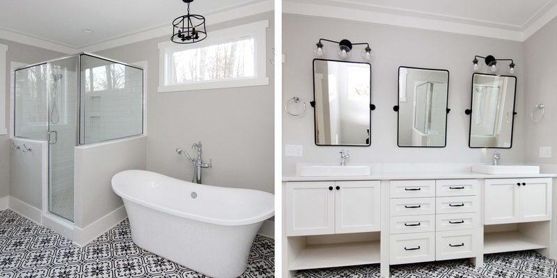 White and Black Modern Farmhouse Bath | Mebane NC New Homes