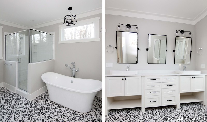White and Black Modern Farmhouse Bath | Mebane NC New Homes