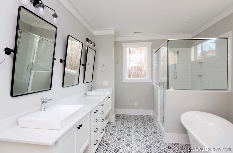 White Modern Farmhouse Bathrooms | Mebane NC New Homes