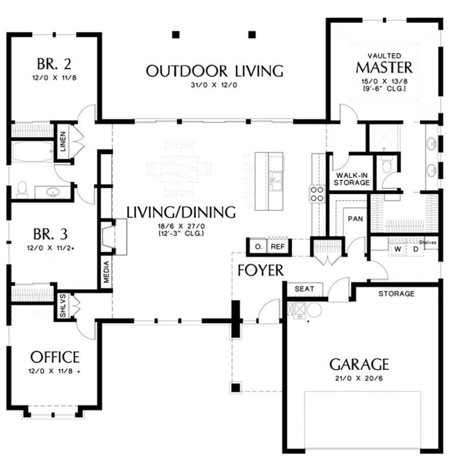 Single Story Contemporary House Plan