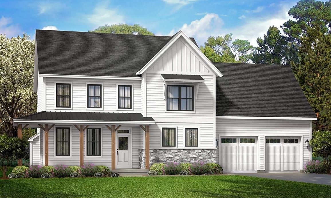 Two Story White Farmhouse Plan