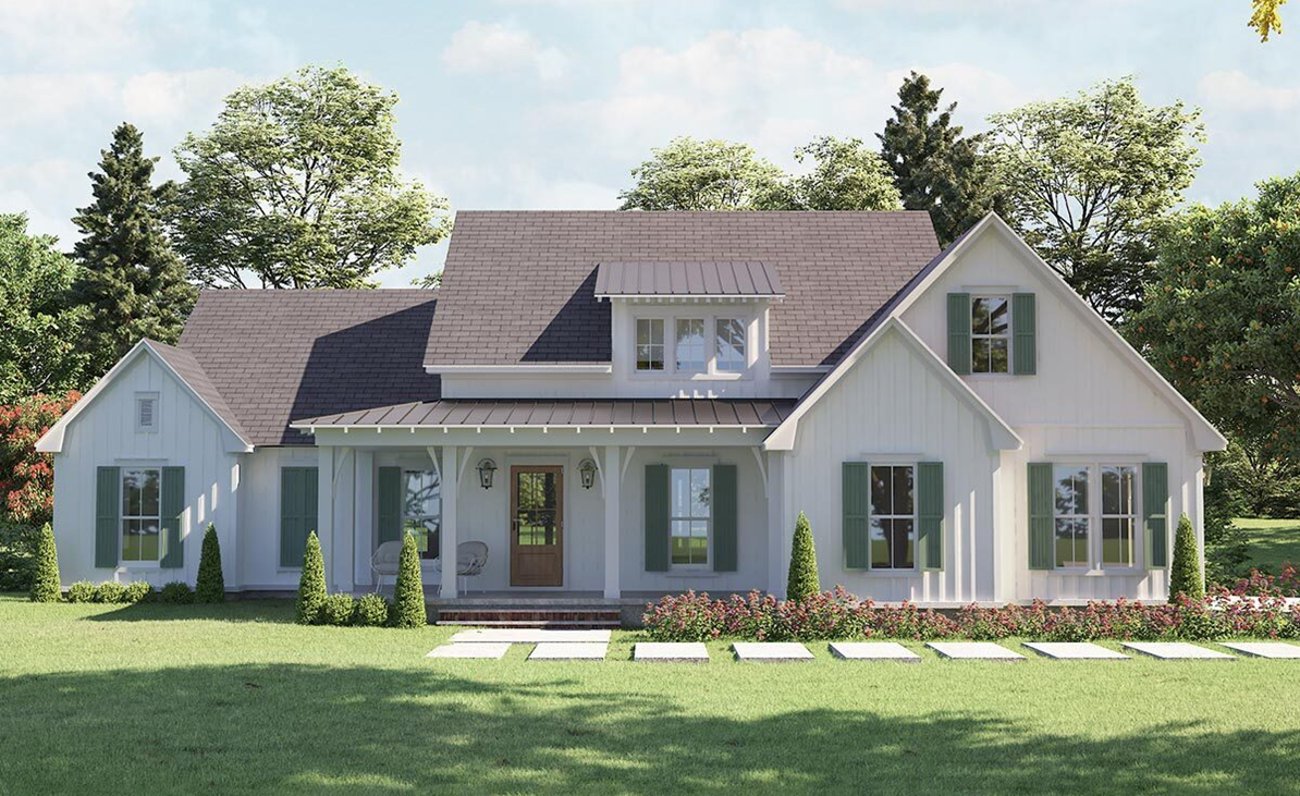 One Story White Modern Farmhouse in NC