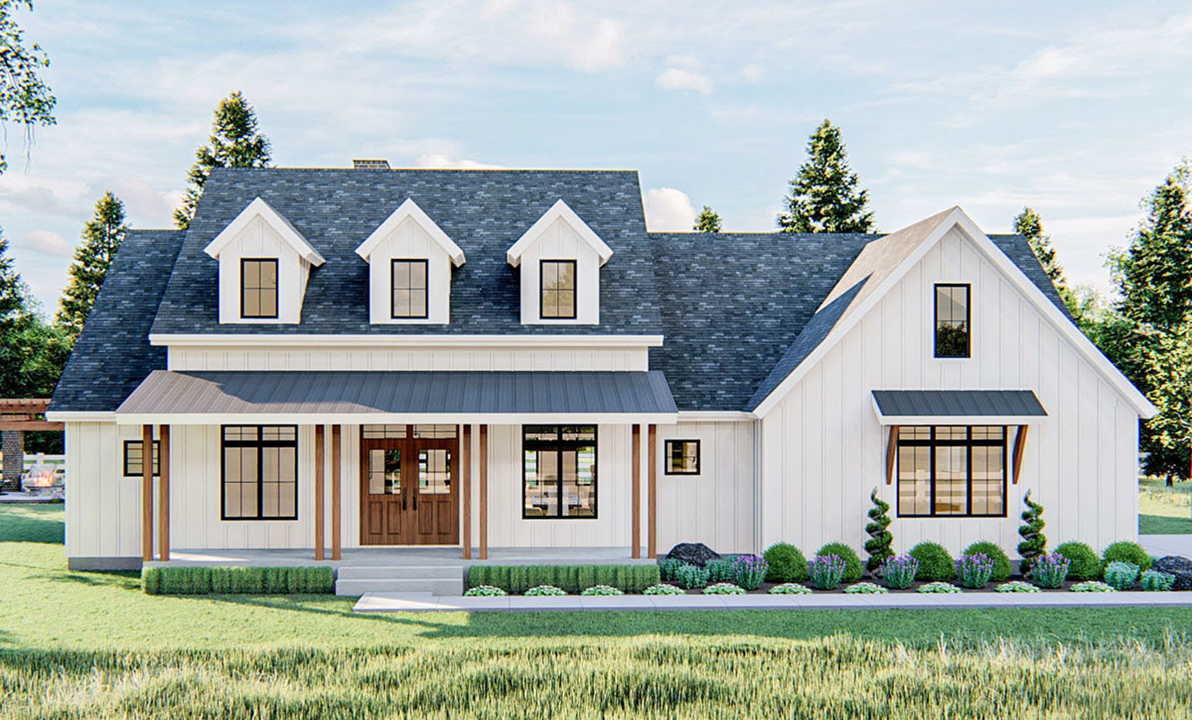 One Story White Farmhouse in NC